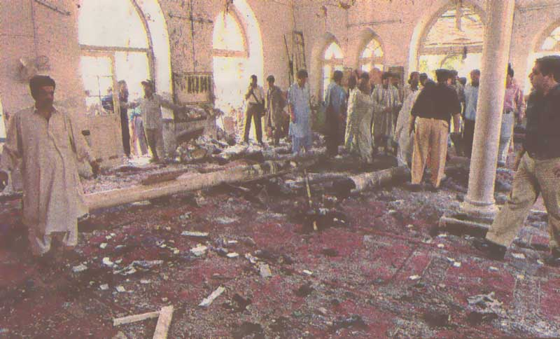 An inner view of mosque after the blast.