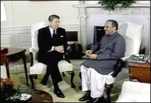 general zia geting dollars from President regan for 1980 afghan russia war